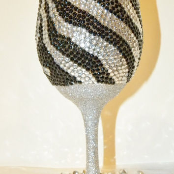 Rhinestone and Glitter Zebra Print Wine Glass