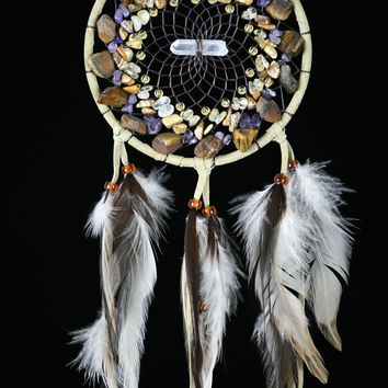 Tan Vision Seeker Cluster Dream Catcher with Tiger's Eye, Amethyst, Citrine and Jasper stones
