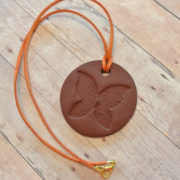"""Brown Butterfly Necklace - Polymer Clay Pendant - Burnt Orange Faux Suede Cord - Gold colored closure - 10"""" long - Monarch"""