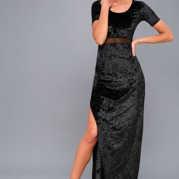 Make No Mystique Black Velvet Maxi Dress