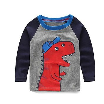 Awesome Boys Red Dinosaur with Black Long Sleeve Jersey T-Shirt Top