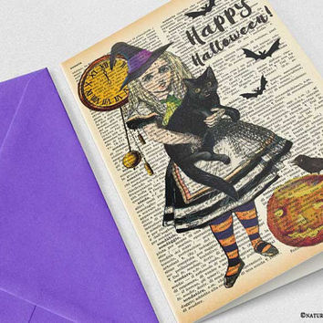 Halloween Card-Alice Halloween card-Alice witch card-handmade card-4x6 card-Halloween Invitation-Alice card-design by NATURA PICTA-NPGC105