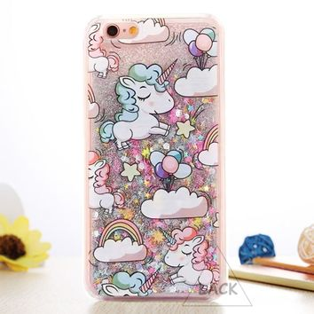 "Cartoon Unicorn Horse Cover Dynamic Glitter Stars Dynamic Liquid Phone Cases for iPhone 6 Case For iphone 6S 6 Plus 4.7/5.5"" New"