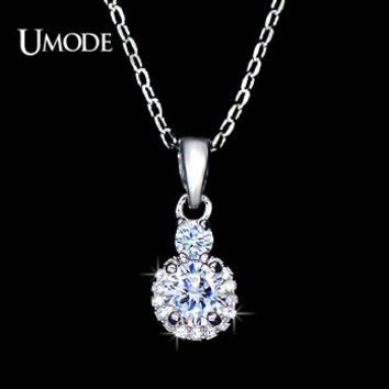UMODE Small and Cute 0.5cm CZ Shiny CZ Stones Necklaces Pendants Best Valentines Gifts Jewelry for Women Daily Wearing UN0051