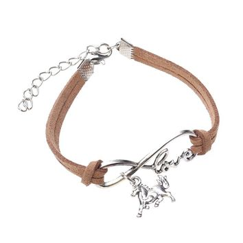 Fashion Hand-woven Rope Chain Leather Bracelet Charm Metal Pendant Bracelets Jewelry for Women (Horse, Coffee)
