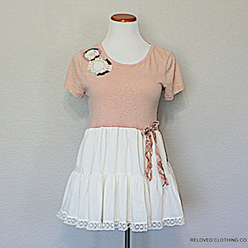 Shabby Sweet Women's Junior's Shirt - Babydoll Top - Upcycled Clothing - Refashioned Repurposed Recycled Clothes - Beaded Flowers