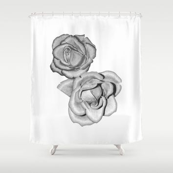Grey Roses Shower Curtain by drawingsbylam