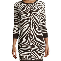 Zebra-Print Sweater Dress, Ecru/Combo