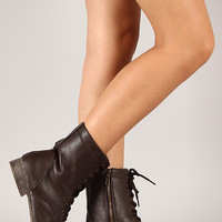 Bamboo Surprise-13 Leatherette Lace Up Military Boot
