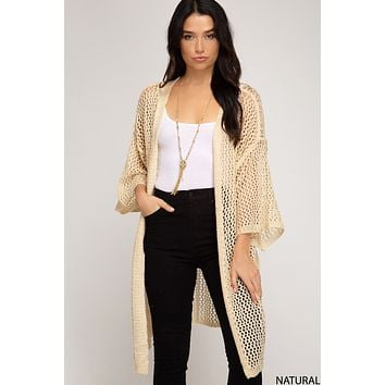 Long Sleeve Fishnet Long Line Cardigan - Natural O/S