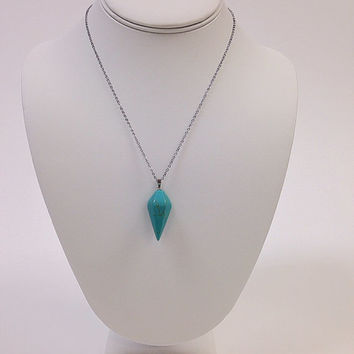 18k white gold plated hexagonal pointed turquoise pendant with chain / Silver statement turquoise necklace / Silver boho bohemian necklace
