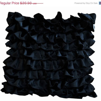 Valentine SALE Decorative pillow in Black Satin with Ruffles- Decorative cushion cover - Ruffle throw pillow - Ruffle throw cushion - Gift p