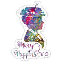 Mary Poppins Portrait Silhouette Watercolor by bittermoon