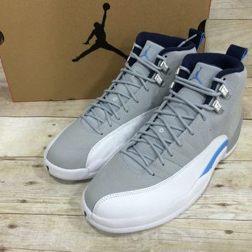 Nike Air Jordan 12 Retro (Wolf-Grey/White/University Blue)