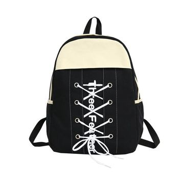School Backpack trendy Moon Wood Personality Rope Letters Women Canvas Backpack 2018 Autumn New Backpacks For School Teenage Girls Notebook Backpack AT_54_4