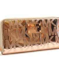 Michael Kors Signature Mirror Metallic Zip Around Continental Wallet Rose Gold