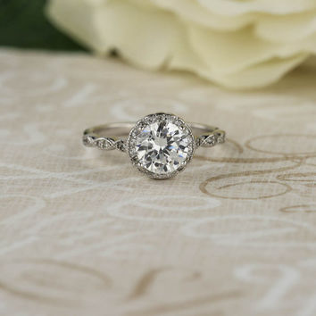 1.25 Ct Scalloped Halo Engagement Ring, Flawless Man Made Diamond Simulant, Art Deco, Wedding Ring, Bridal, Promise Ring, Sterling Silver