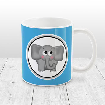 Adorable Elephant Mug - Blue Background - Cute Gray Elephant - Blue Elephant Mug - 11oz or 15oz Blue Mug - Made to Order