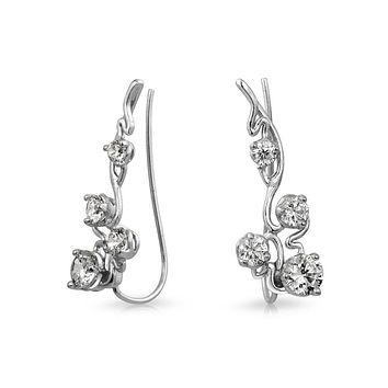 Trendy Swirl Wire Ear Pin Climbers Earrings For Women For Teen AAA CZ