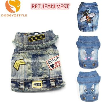 Trendy New Denim Pet Dog Clothes Cartoon Embroidered Hole Cowboy Vest Clothing For Small Dogs Puppy Jacket Chihuahua Doggies Costumes AT_94_13