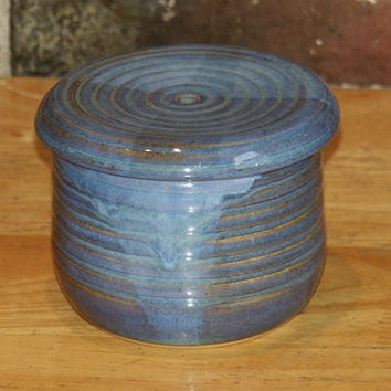 French butter keeper, blue pottery butter server