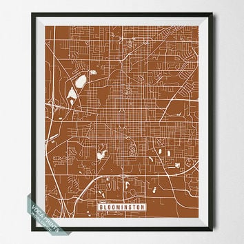 Bloomington Print, Illinois Poster, Bloomington Poster, Bloomington Map, Illinois Print, Illinois Map, Street Map, Wall Art