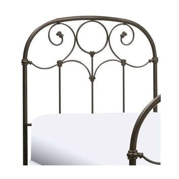 Twin Size Metal Headboard With Scroll Design & Rounded Shoulders
