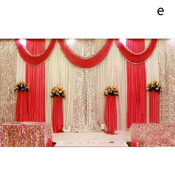 3x6M meter ice silk wedding stage backdrops decoration romantic wedding curtain with swags sequins