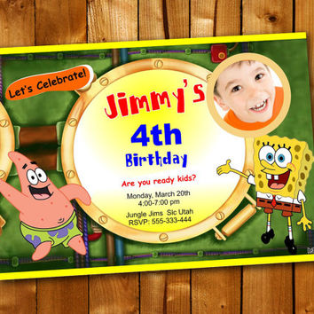 Spogebob Squarepants, Birthday Invitation, Birthday Party for little boy and little girl