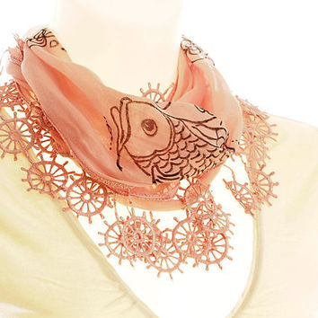 Cotton Scarf Powder Pink Hand Drawing by PinaraDesign on Etsy