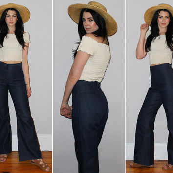 Vintage 70s HIGH WAISTED Jeans / Sailor Pants / RAW Denim / Super Dark Blue Wash / Bell Bottom, Flares / Boho, Festival / 25 26 27 Small Med