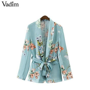 Vadim women vintage floral blazer Notched collar pockets sashes long sleeve coat casual outerwear casaco feminine tops CT1480