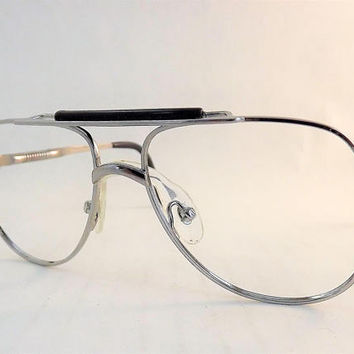 Small Silver Aviator Eyeglasses, Kids Eyeglasses, Silver Frames, New Old Stock, Metal Aviator Frames, Flexible Temple Arm, Made in Japan