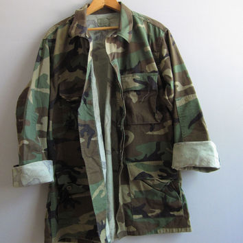Vtg Army Camo Jacket Shirt Camouflage US Military Combat M Reclaimed Medium Long
