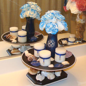 floral arrangement navy blue wedding centerpieces silk flowers nautical theme fake - Silk Arrangements For Home Decor 2