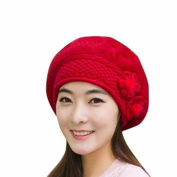 FEITONG Women's Beanie Flower Knitting Wool Crochet Cap/Hat/Beret