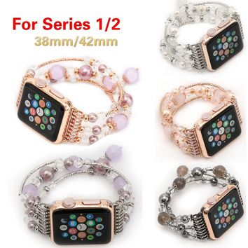 Fashion Handmade Chic Beaded Bracelet Strap Watch Band For iWatch Series 1/2/3 38/42mm