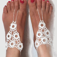 Beach Wedding Barefoot Sandals , Cream crochet Barefoot Sandals, Crochet Anklet, Sexy Lace sandals, Foot Jewelry,  Bridal Sandals
