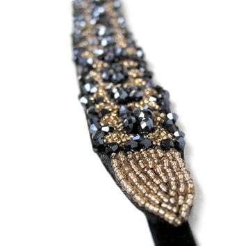 Gold and Black Flapper Headband, Great Gatsby Headpiece, Downtown Abbey, Jazz Age, 1920's Hair Accessories