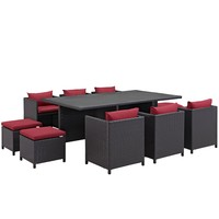 Reversal 11 Piece Outdoor Patio Dining Set Espresso Red EEI-644-EXP-RED-SET