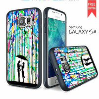 Love Song Romantic In The Rain Paint Samsung Galaxy S6 edge Case