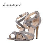 LOSLANDIFEN fashion women's high heels lady sandal thin heels single shoes sex leopard print with 11cm heel 102-1A-PA