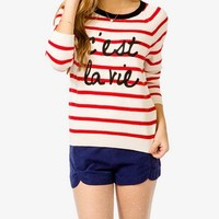 Nautical C'est La Vie Sweater | FOREVER 21 - 2000049307