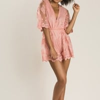 Madison Pink Lace Romper