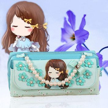 VONC1Y Cute Girl Canvas Pencil Case School Supplies Kawaii Kids Beads Handle Portable Pen Bag Pouch Student Stationery