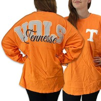 Tennessee Vols Volunteer Women's Preppy Logo Sweeper Long Sleeve Oversized Top Shirt