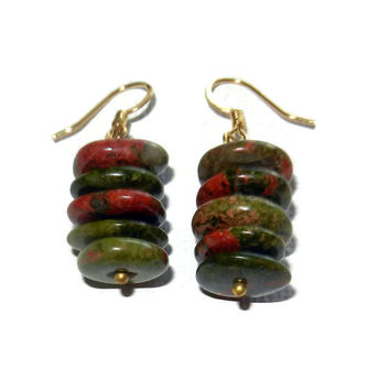 Green and Maroon Dangle Earrings, Unakite Dangle Earrings