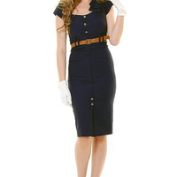 STOP STARING 1940's Style Navy Sexy Cadet Wiggle Dress - Unique Vintage - Cocktail, Evening & Pinup Dresses
