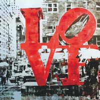 Real is love by Fabrizio Bellanca, enamels and letraset on aluminium, 100x70cm