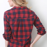 Plaid Button Top